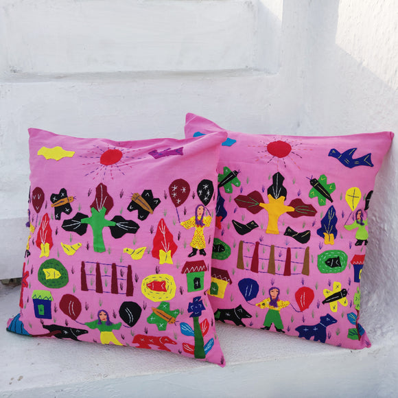 Applique Work Cushion Covers - Pink - Set Of Two