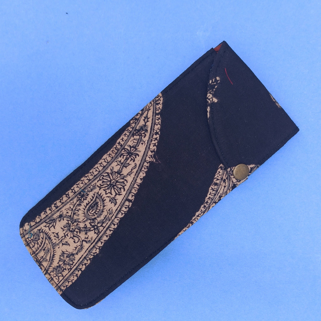 Black multipurpose block printed pouch from Bagru, Rajasthan.