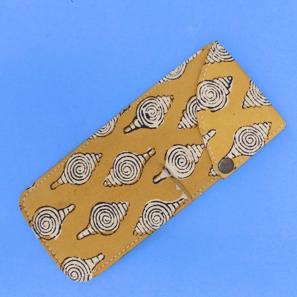 Mustard multipurpose block printed pouch from Bagru, Rajasthan.