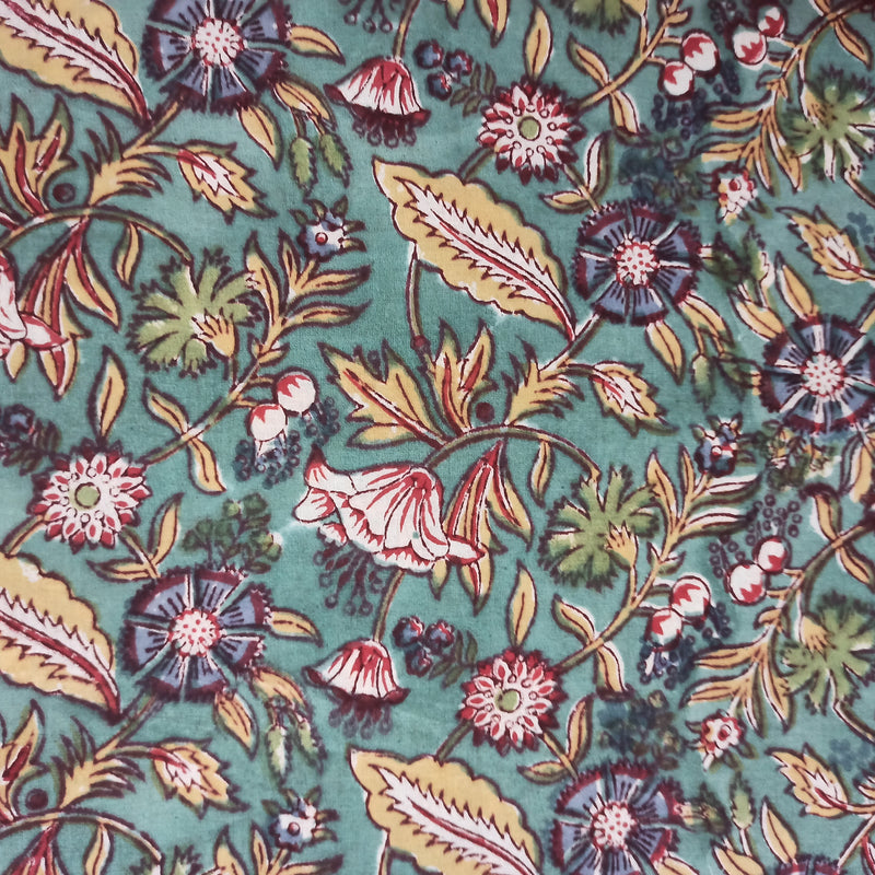 Forest Floor Handblock Printed Fabric - Sea Green