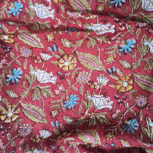 Forest Floor Handblock Printed Fabric - Red