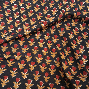 Field Of Tulips Handblock Printed Fabric - Red and Black
