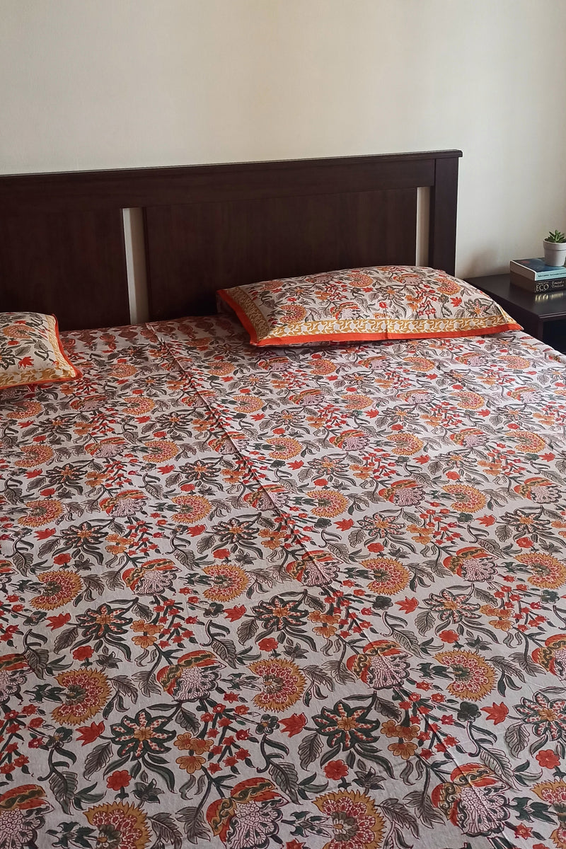 Handblock Printed Double Bedsheet - White and Orange