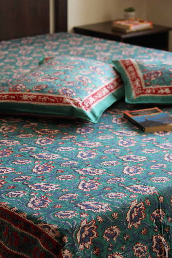 Handblock Printed Double Bedsheet - Blue and Pink