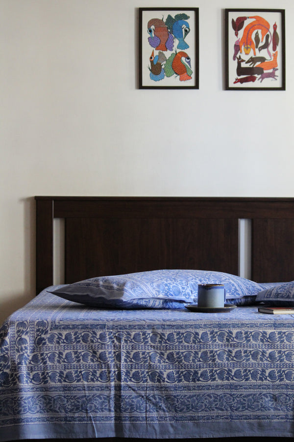 Handblock Printed Double Bedsheet - Light Blue