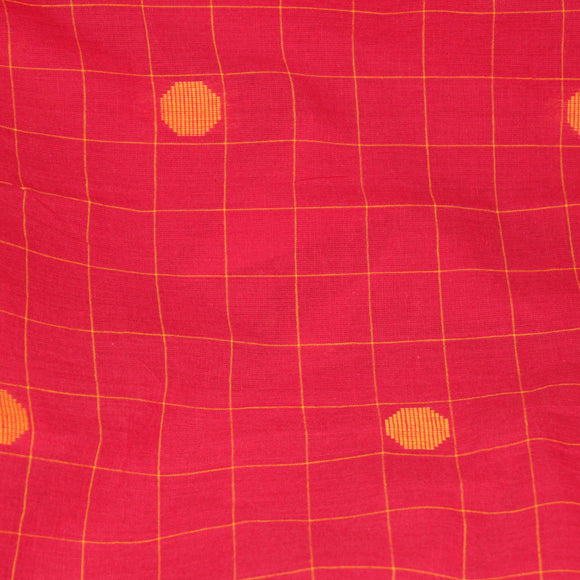 Lanterns, Lanterns in the Sky Handloom Cotton Fabric - Red and Yellow
