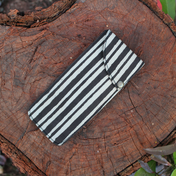 Handblock Printed Multipurpose Pouch - Black Stripes