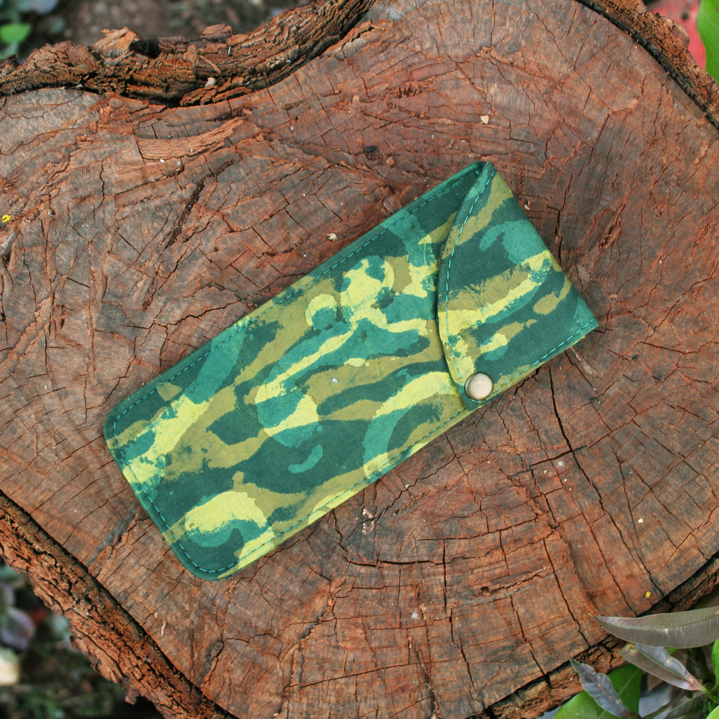 Handblock Printed Multipurpose Pouch - Green and Yellow
