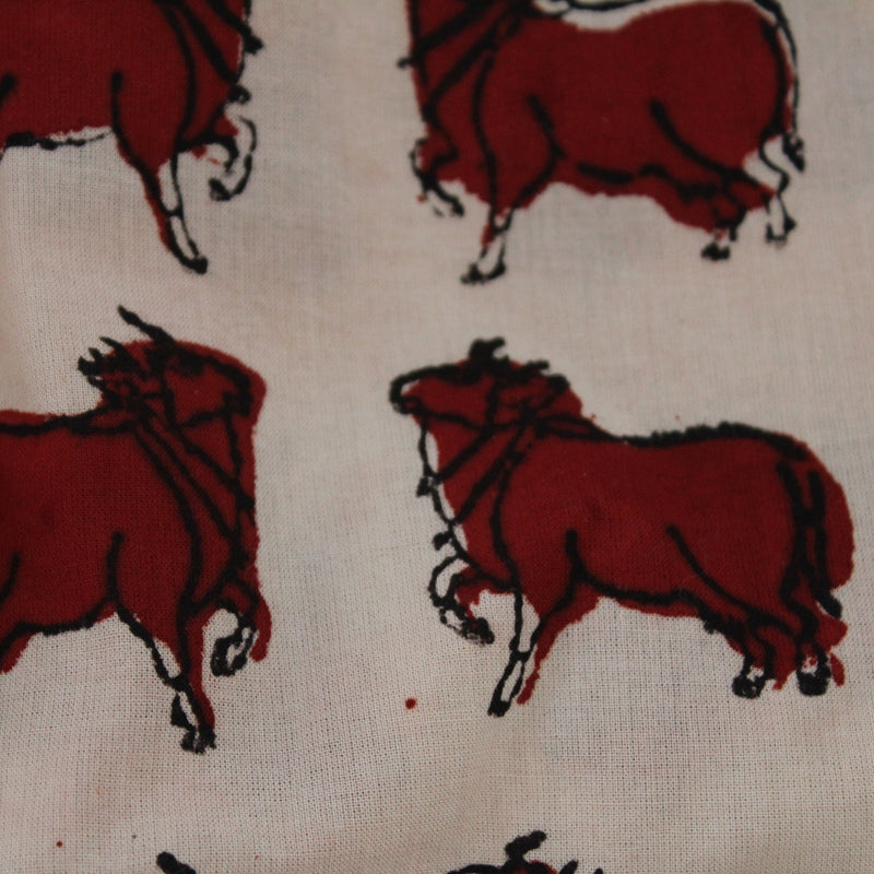 Nandi Handblock Printed Fabric - Red and Off White