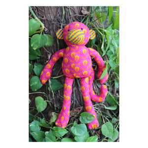 Handmade  Plush Toy - Pink Monkey