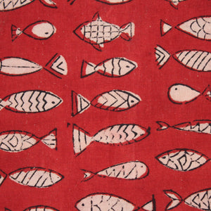 Fishbowl Handblock Printed Fabric - Red (2 metres cut piece)
