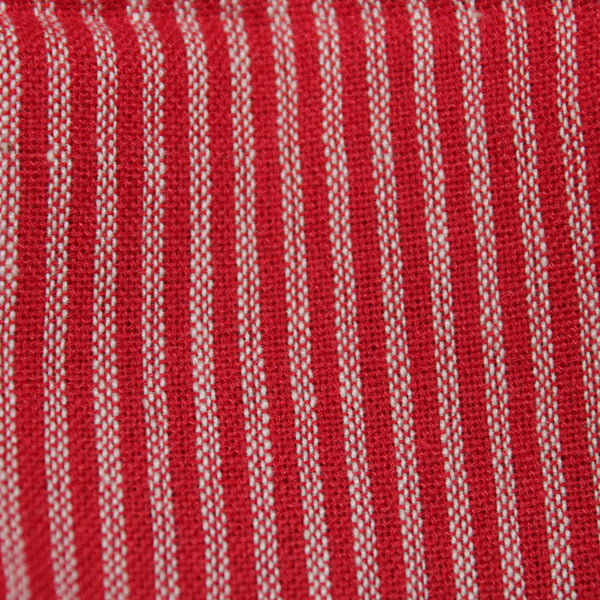 Scribbled Lines Handloom Cotton Fabric - Red Stripes(2.5 metres)