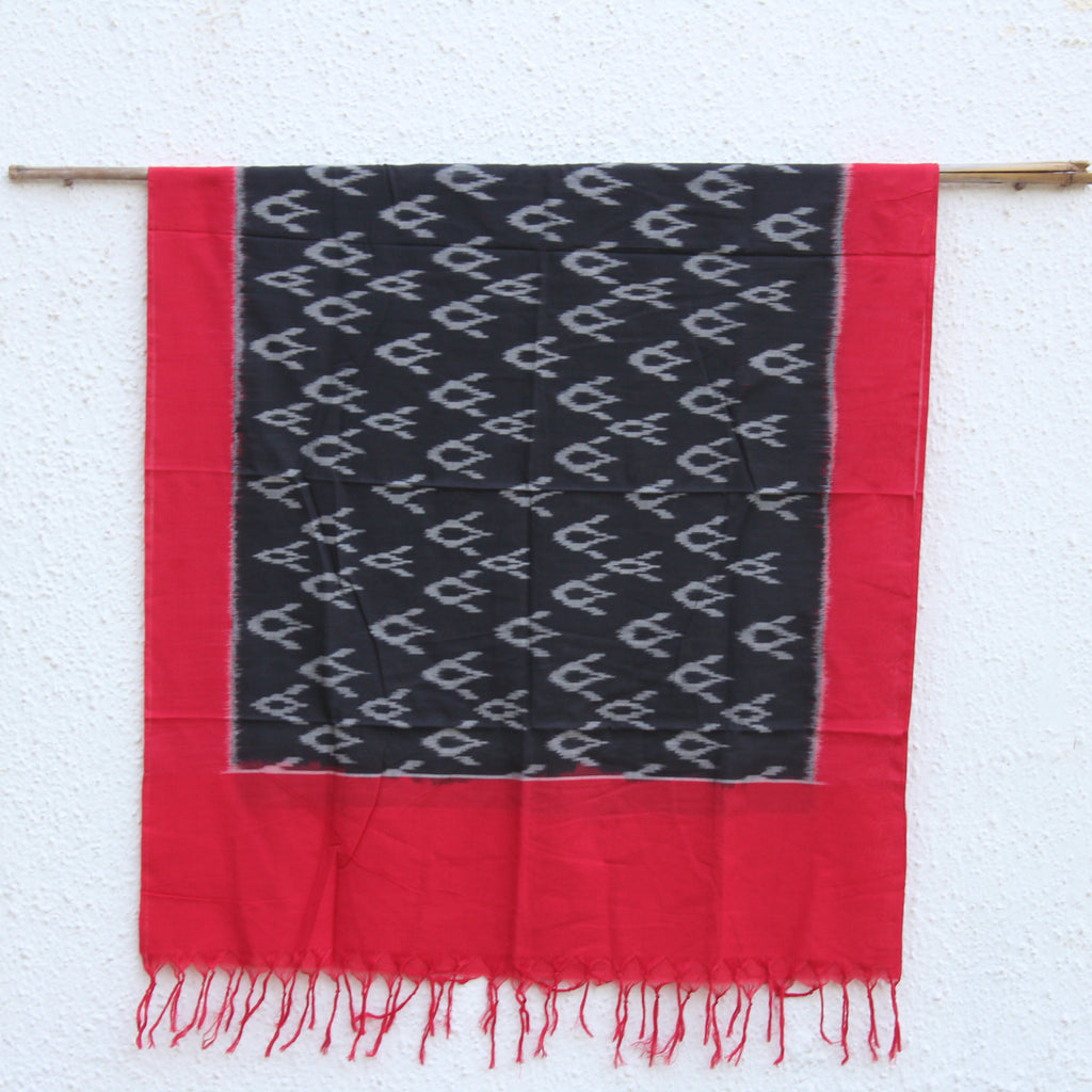 Red and Black Ikat Dupatta