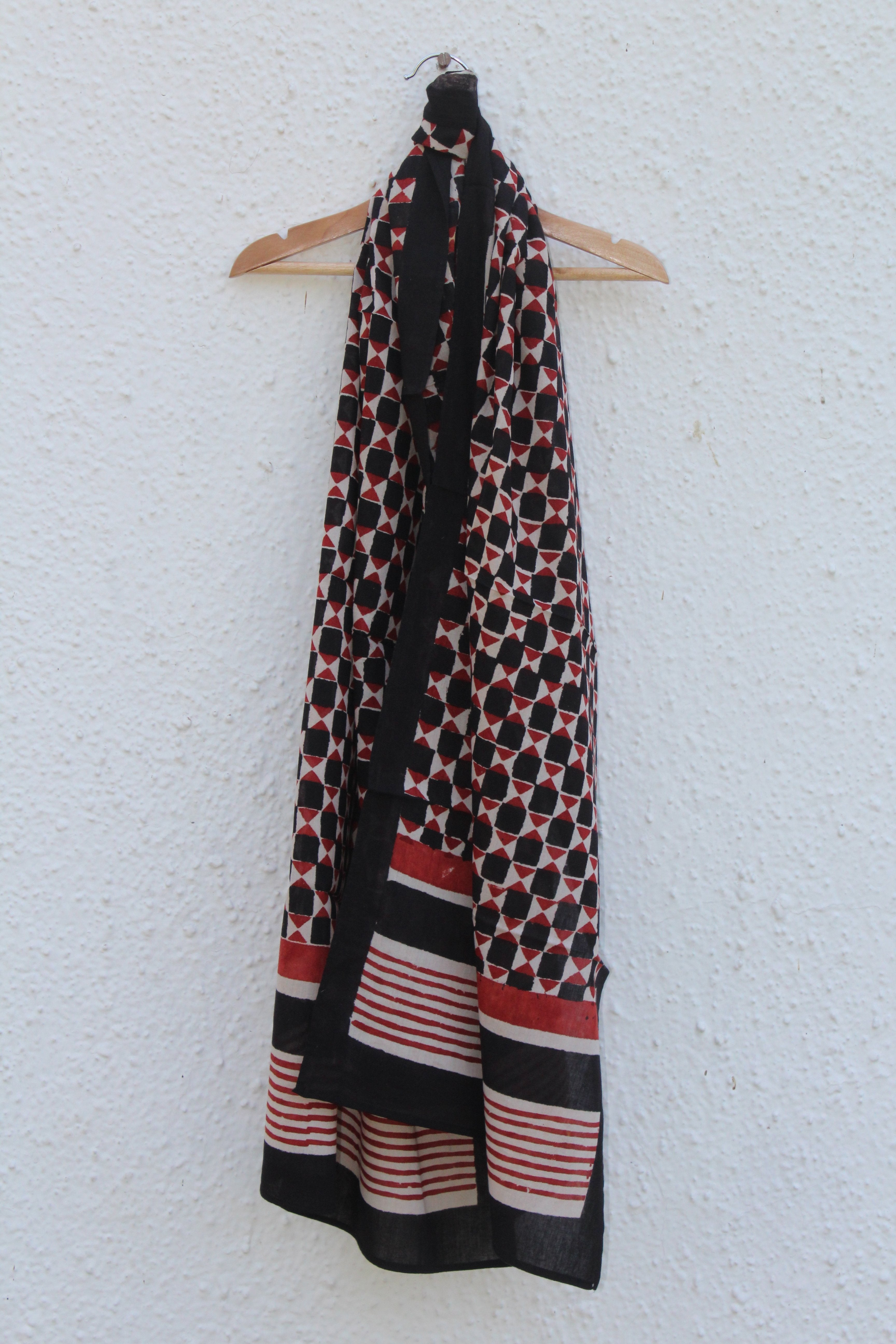 Red Black Block Printed Stole