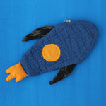 Applique Work Pencil Pouch - Rocket