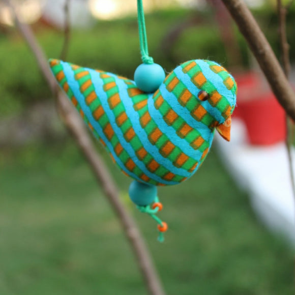 Joy Bird Ornament - Blue and Orange