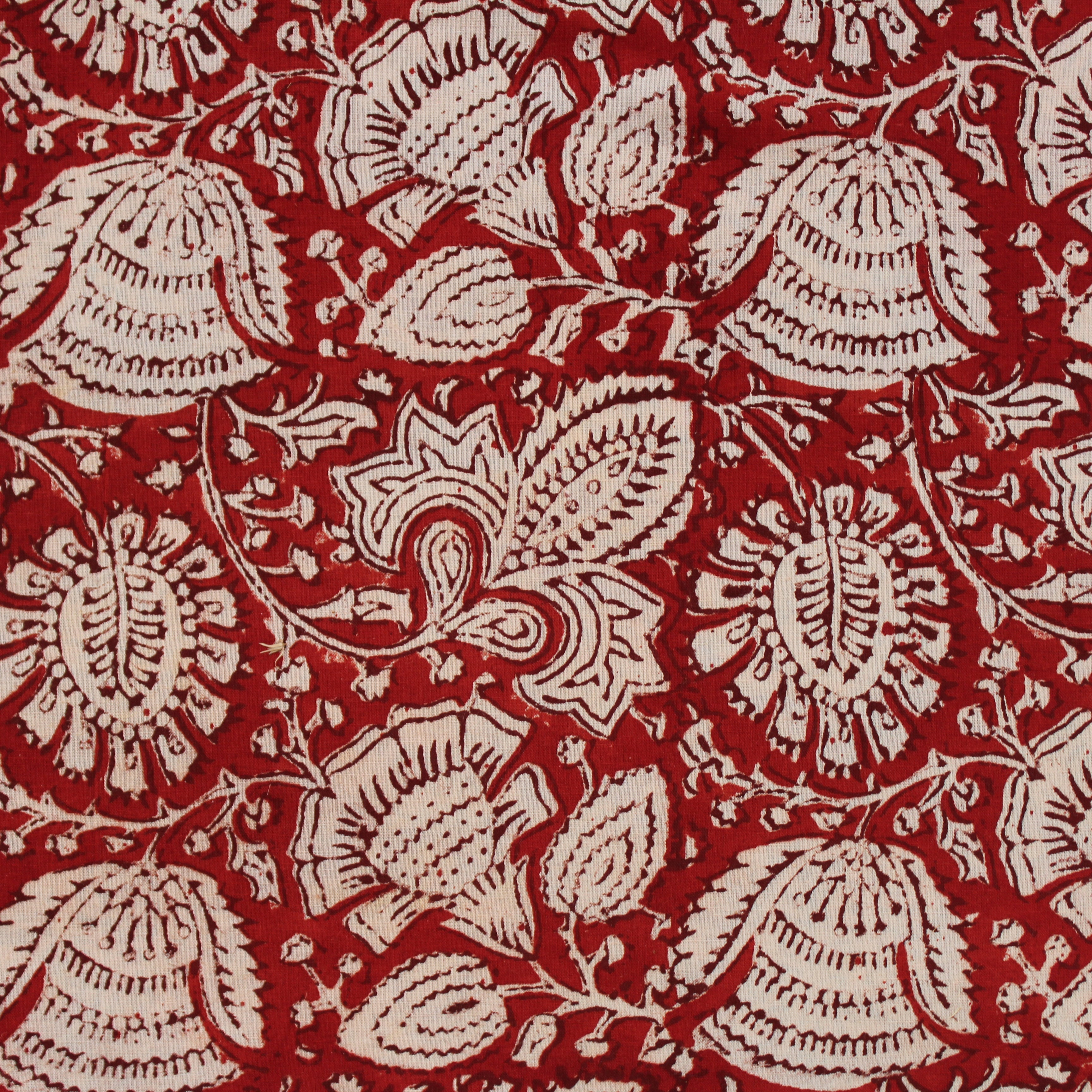 Spring Blooms Handblock Printed Fabric - Red