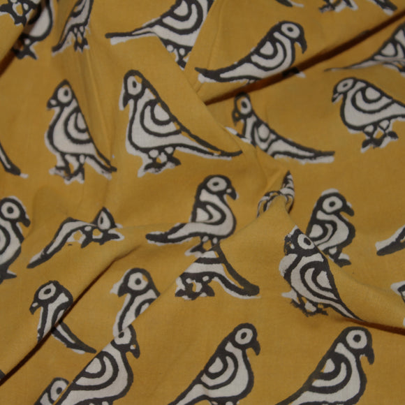 Summer Birds Handblock Printed Fabric - Mustard