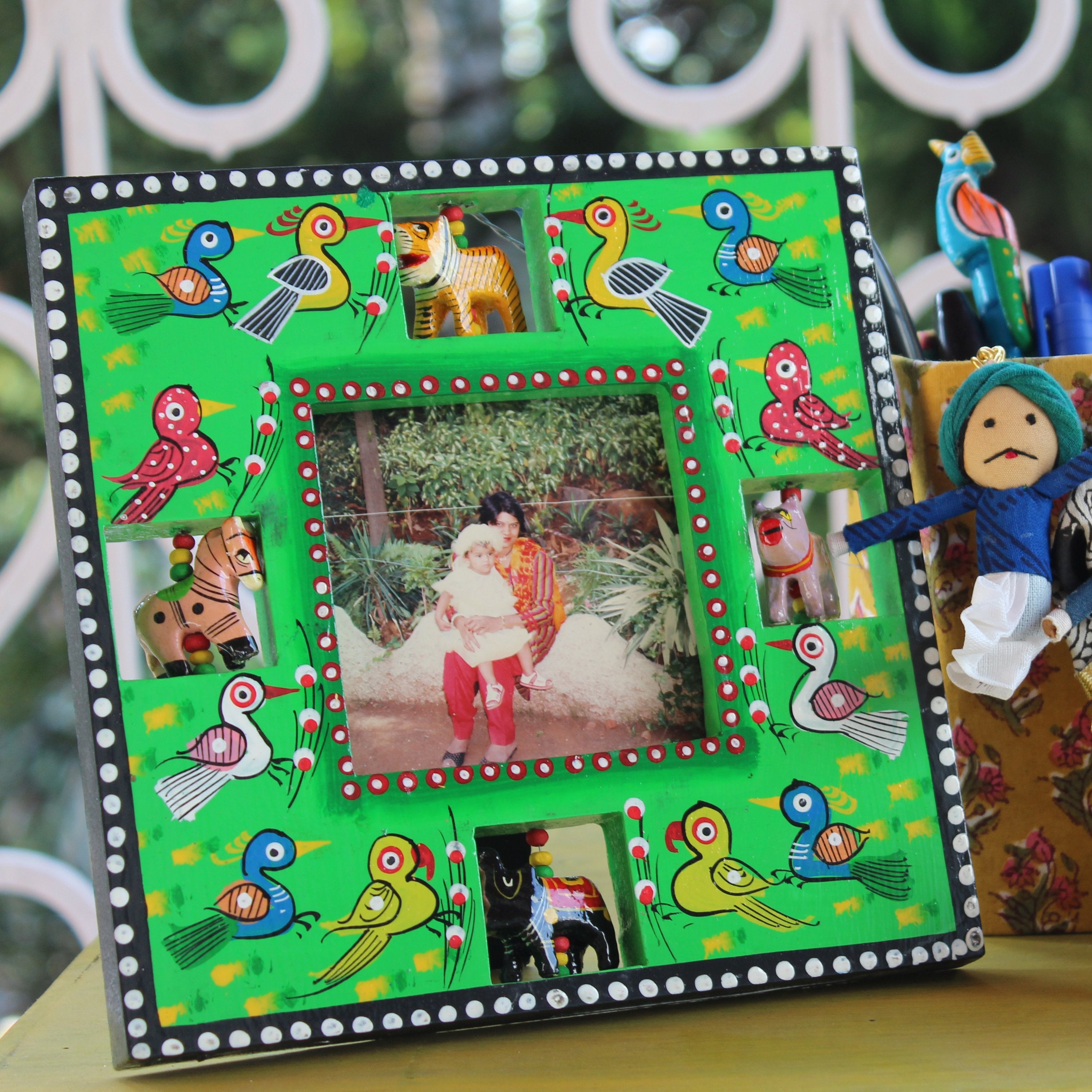 Square Photo Frame/Mirror - Green