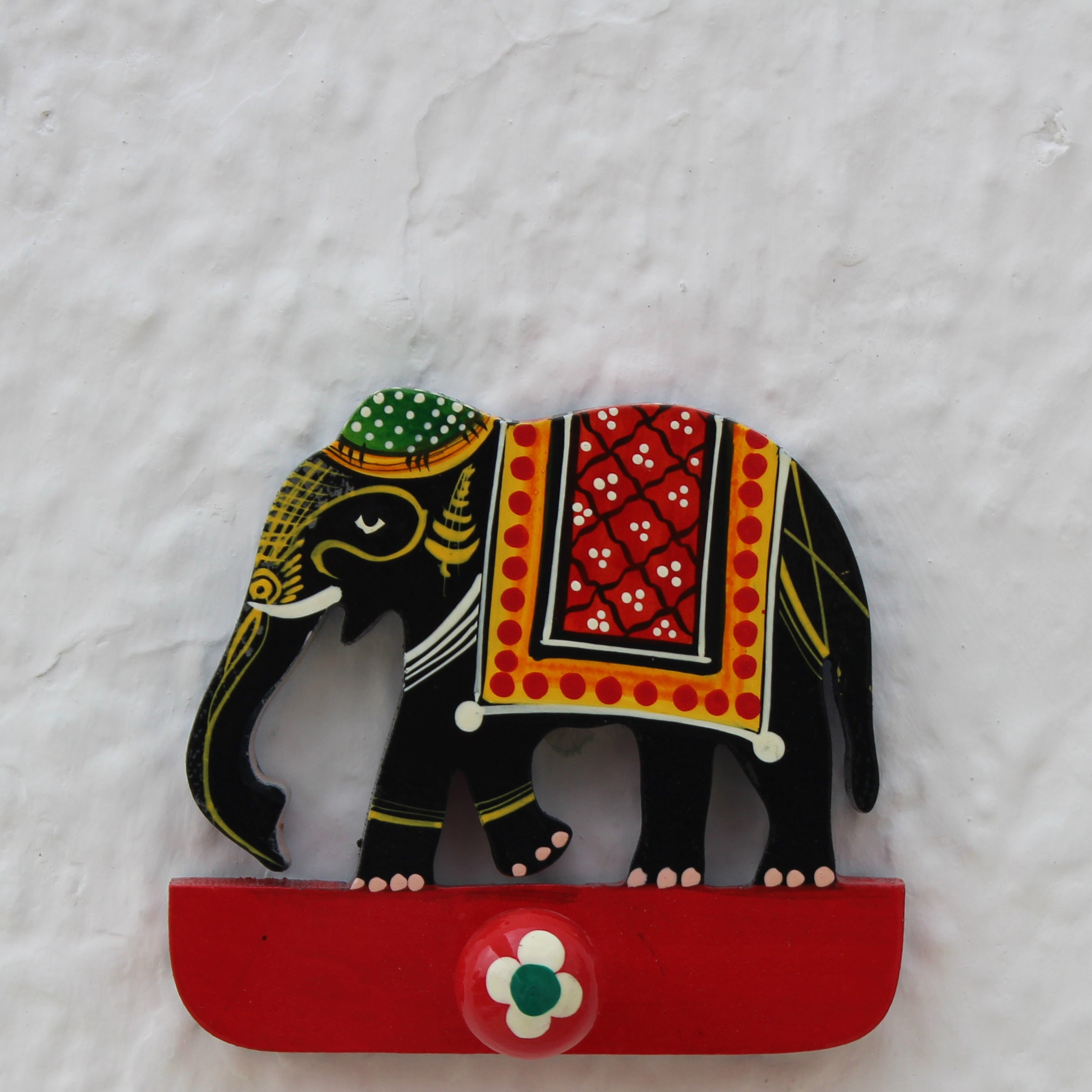 Handpainted Wooden Hook - Elephant