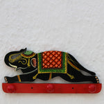 Handpainted Wooden Wall Hook from Varanasi- Black Elephant