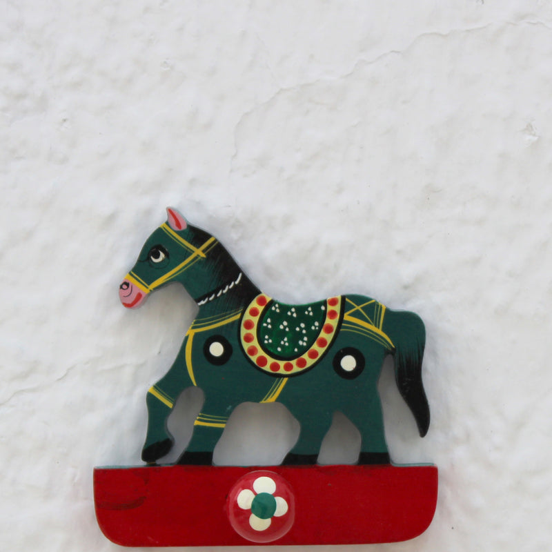 Handpainted Wooden Wall Hook from Varanasi - Green Horse