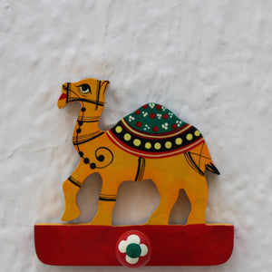 Handpainted Wooden Wall Hooks from Varanasi - Orange Camel