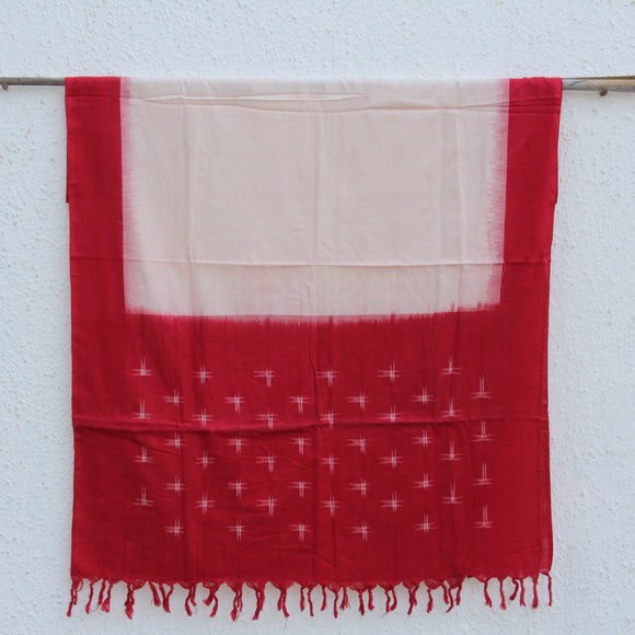 White and Red Ikat Dupatta