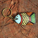 Wooden keychain handpainted by Patua artist - Light Yellow Fish