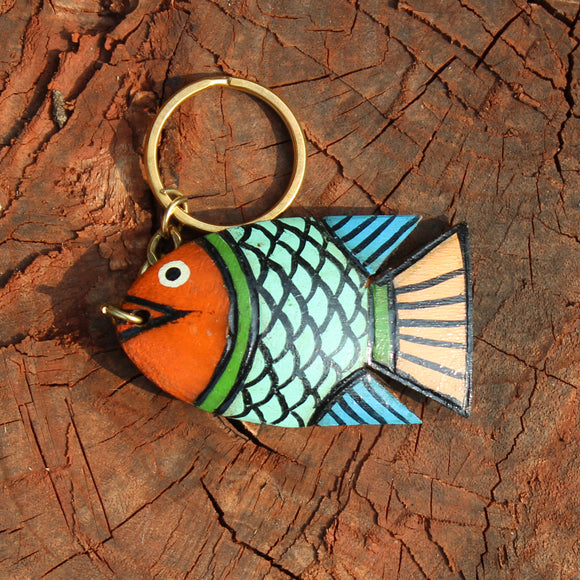 Wooden keychain handpainted by Patua artist - Light blue fish
