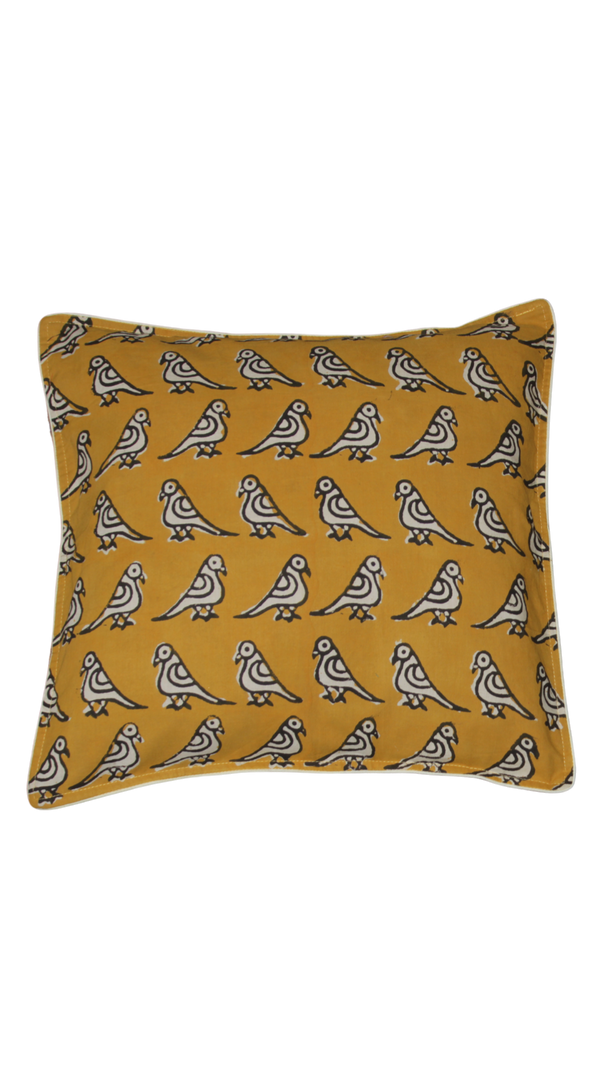 Block Printed Cushion Cover - Mustard(A)