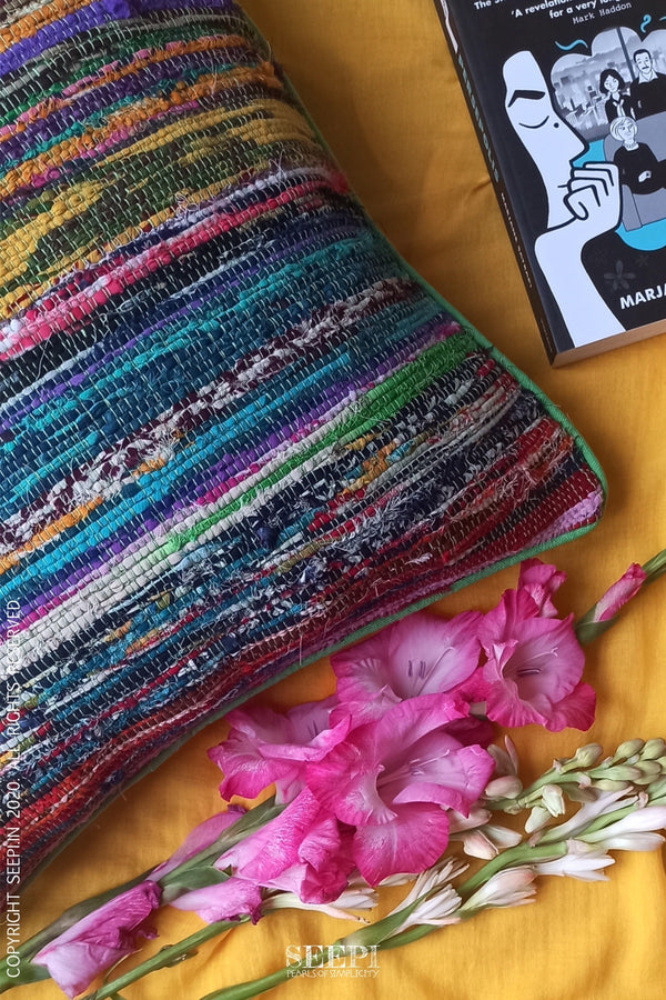Multicoloured Chindi Cushion Cover - C
