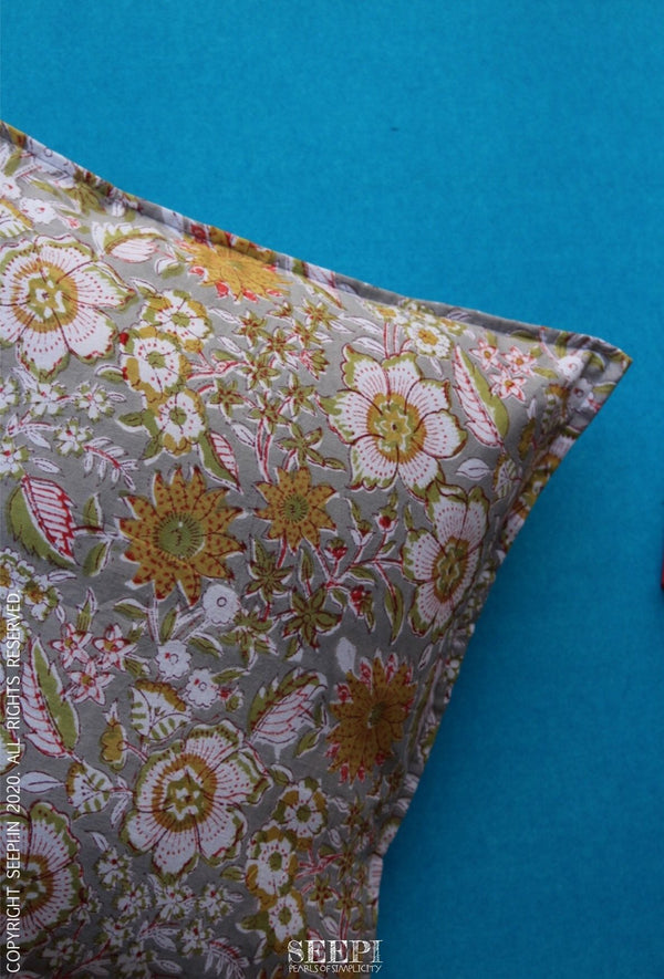Block Printed Cushion Cover - Grey