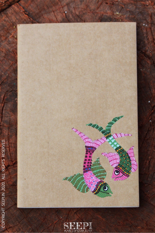 Gond Art Notebook - Two Fishes