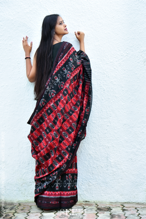 red and black sambalpuri ikat saree from orissa