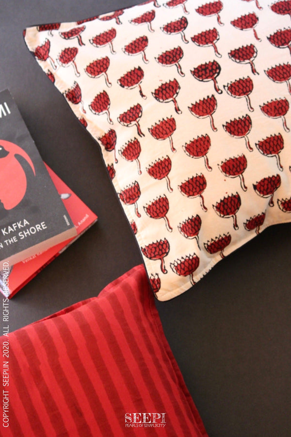 Block Printed Cushion Cover - Red and Off White(B)