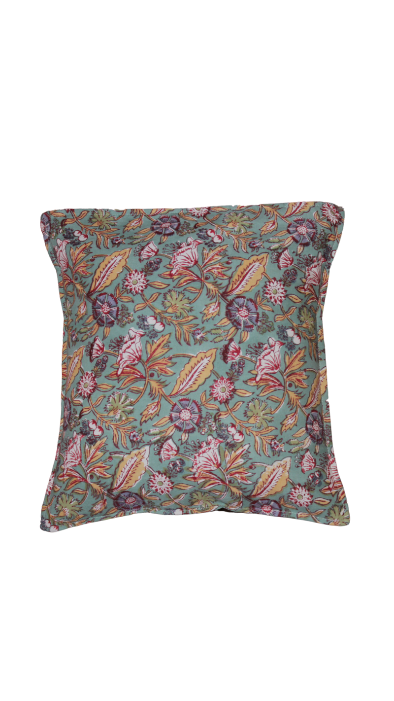 Block Printed Cushion Cover - Blue