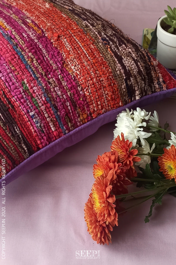 Multicoloured Chindi Cushion Cover - A