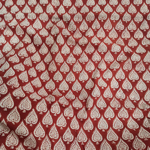 Spades Handblock Printed Fabric - Red