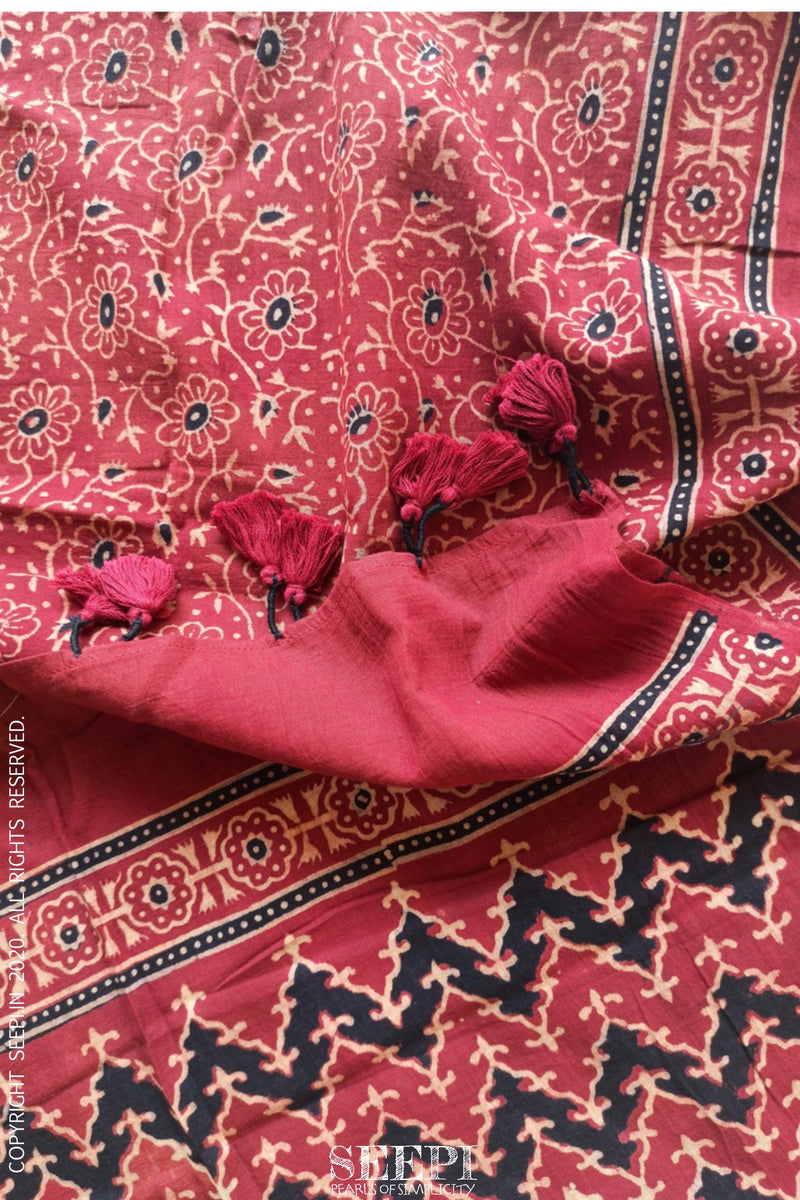 Red and Black Ajrakh Stole