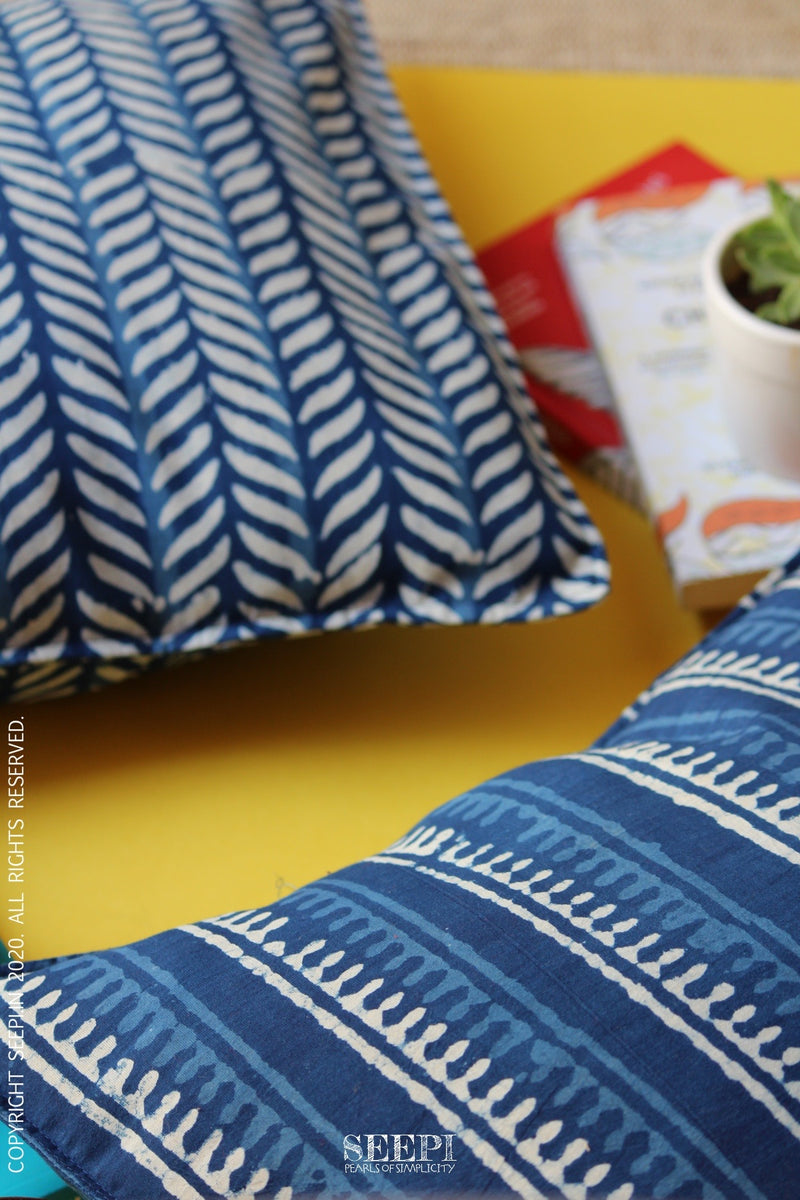 Block Printed Cushion Cover - Indigo(C)