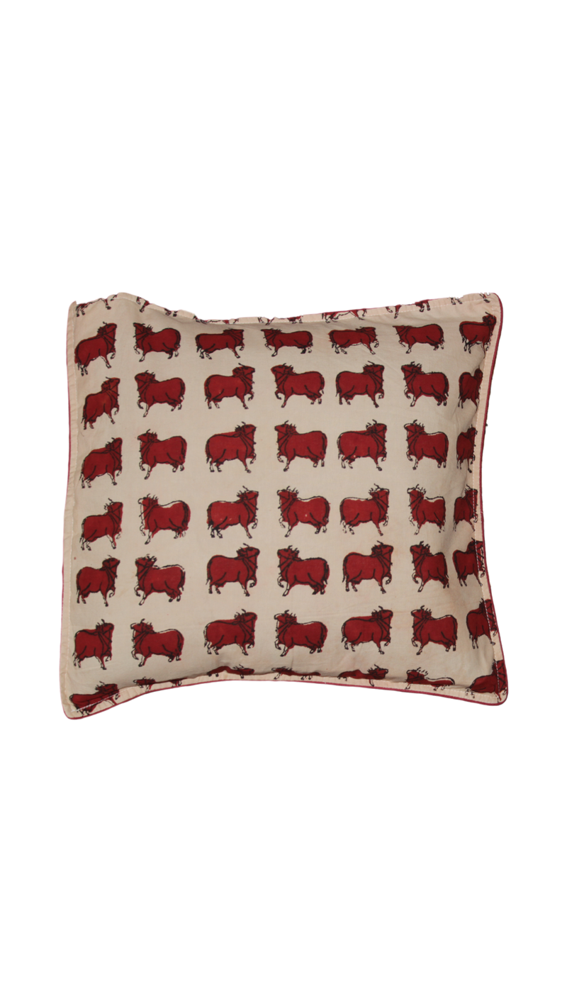 Block Printed Cushion Cover - Red and Off White(A)