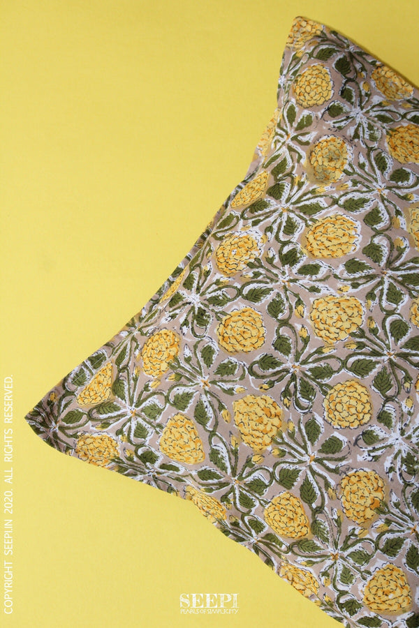 Block Printed Cushion Cover - Marigolds(B)