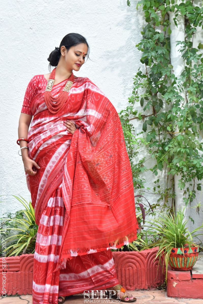 red and white sambalpuri ikat saree from Orissa