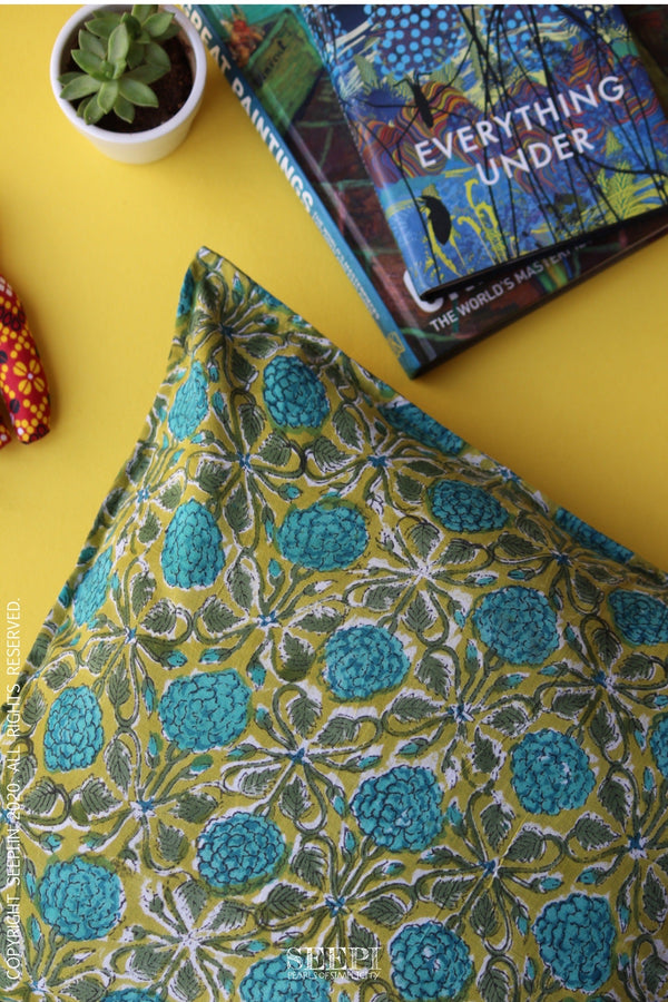 Block Printed Cushion Cover - Marigolds(A)