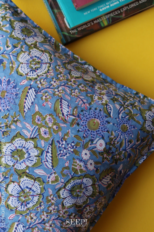 Block Printed Cushion Cover - Light Blue