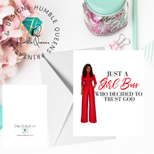 Load image into Gallery viewer, Gil Boss trusting God |Black Greeting Cards| Girl Boss Card God Got You Greeting Card |Christian Greeting Cards| Black Expressions
