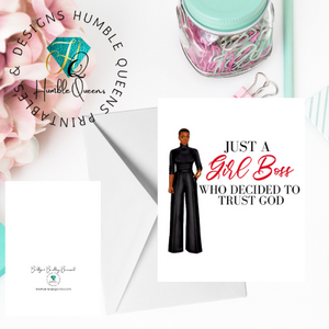 Gil Boss trusting God |Black Greeting Cards| Girl Boss Card God Got You Greeting Card |Christian Greeting Cards| Black Expressions