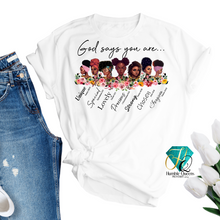 Load image into Gallery viewer, You Are Known, Loved, Worthy, Chosen, Enough Shirt, Christian Shirt,, Christian Apparel, Christian Shirts For Women, Christian Clothing, Humble Queens, Jewels, My Faith His Plan, Diligent Hands LLC