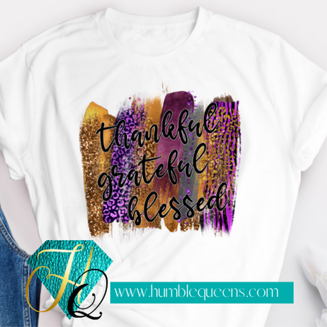 Thankful grateful blessed purple and gold Tee